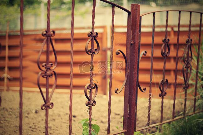 素材 >老铁栅栏, 铁, 篱笆, 门, 锻, 老, 金属, 背景, 发展, 墓地