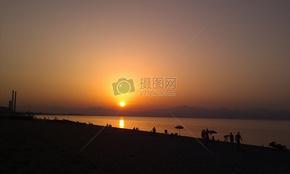 日落, 海, 地平线, 气氛, 海滩, 太阳, 天空, 船, 卡拉布里亚
