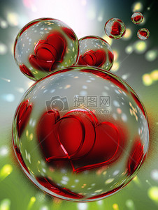 水珠里的两颗红心